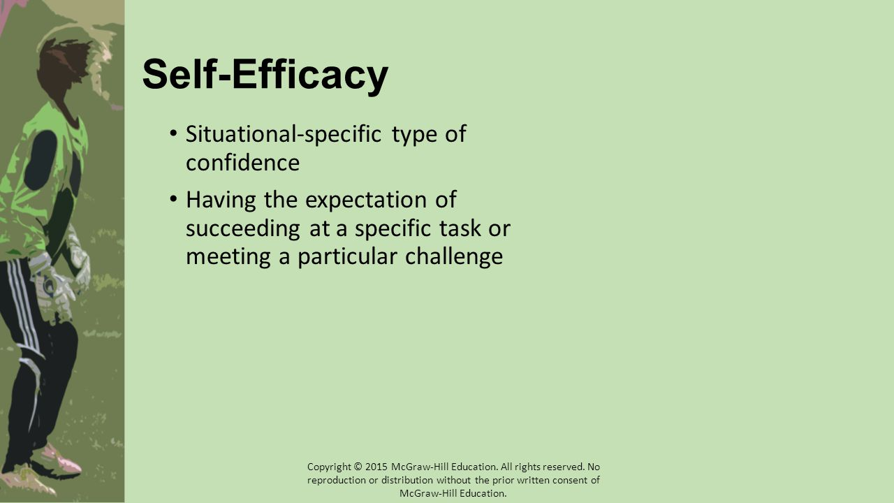 Self-Efficacy Situational-specific type of confidence Having the expectation of succeeding at a specific task or meeting a particular challenge Copyri