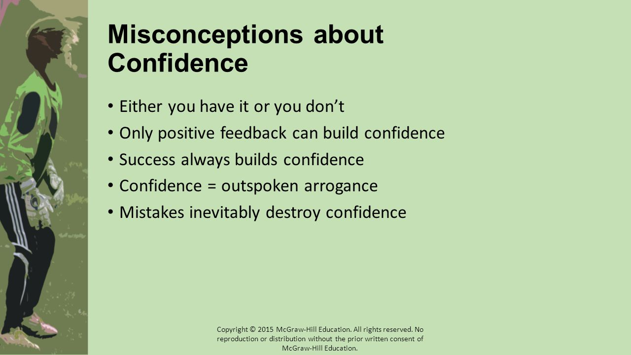 Misconceptions about Confidence Either you have it or you don't Only positive feedback can build confidence Success always builds confidence Confidence = outspoken arrogance Mistakes inevitably destroy confidence Copyright © 2015 McGraw-Hill Education.