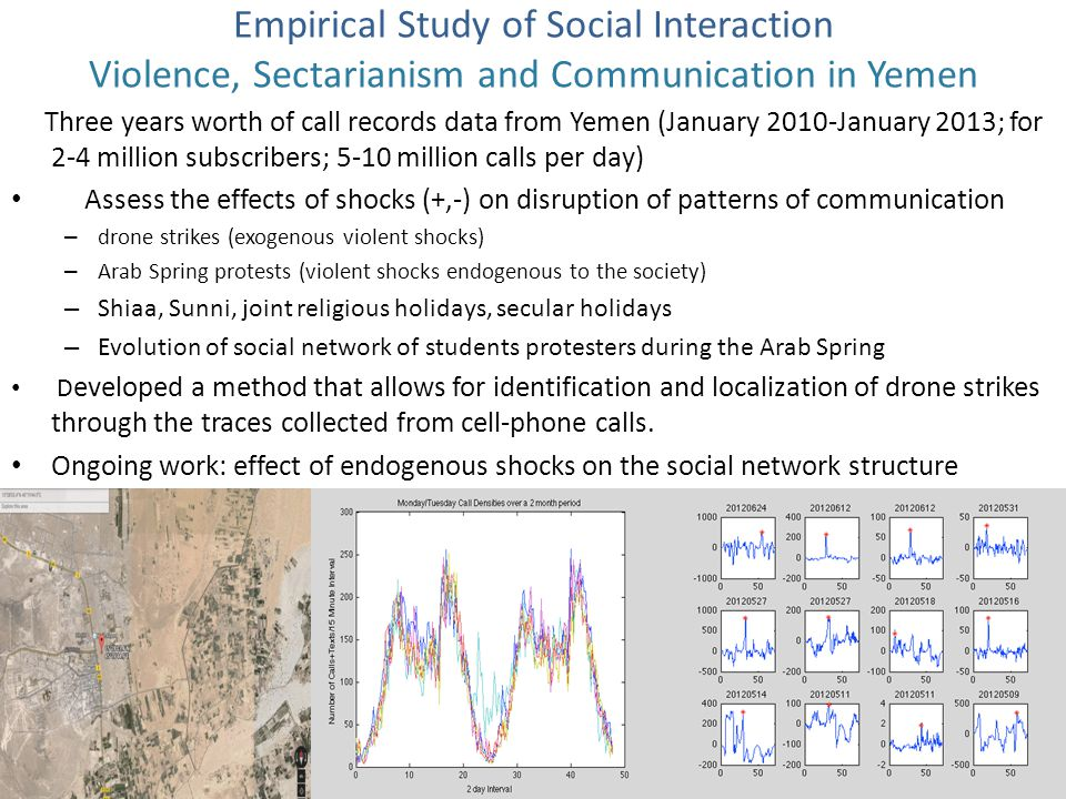 Three years worth of call records data from Yemen (January 2010-January 2013; for 2-4 million subscribers; 5-10 million calls per day) Assess the effects of shocks (+,-) on disruption of patterns of communication – drone strikes (exogenous violent shocks) – Arab Spring protests (violent shocks endogenous to the society) – Shiaa, Sunni, joint religious holidays, secular holidays – Evolution of social network of students protesters during the Arab Spring D eveloped a method that allows for identification and localization of drone strikes through the traces collected from cell-phone calls.