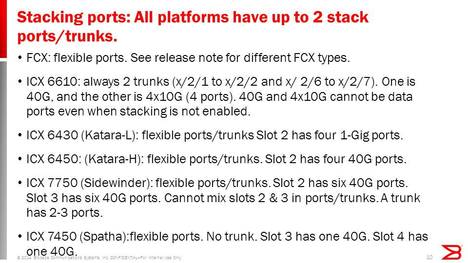 Stacking ports: All platforms have up to 2 stack ports/trunks.