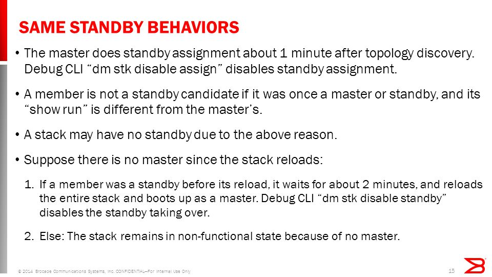 SAME STANDBY BEHAVIORS The master does standby assignment about 1 minute after topology discovery.