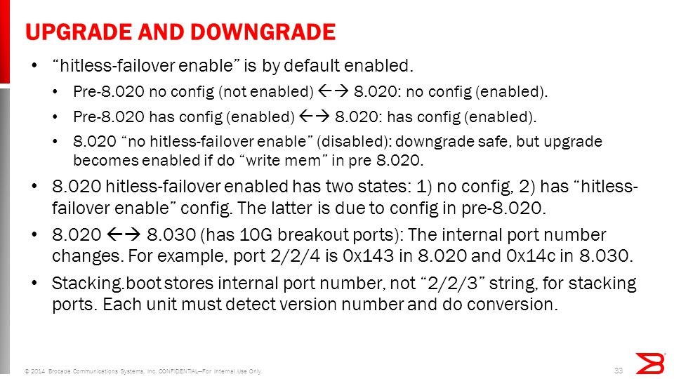 UPGRADE AND DOWNGRADE hitless-failover enable is by default enabled.