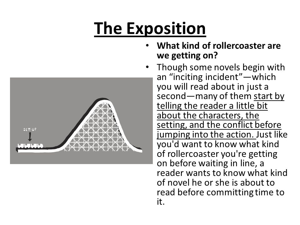 "The Exposition What kind of rollercoaster are we getting on? Though some novels begin with an ""inciting incident""—which you will read about in just a"