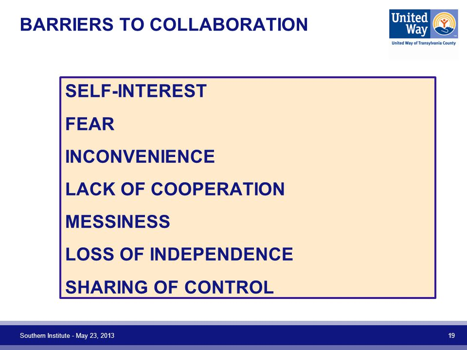 BARRIERS TO COLLABORATION SELF-INTEREST FEAR INCONVENIENCE LACK OF COOPERATION MESSINESS LOSS OF INDEPENDENCE SHARING OF CONTROL Southern Institute -