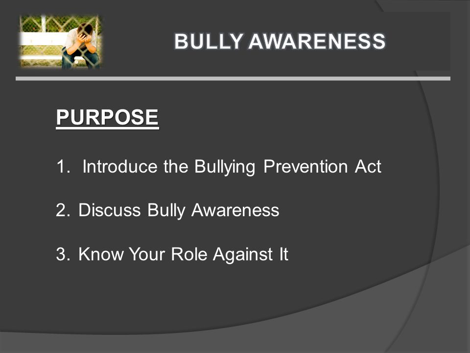 PURPOSE 1.Introduce the Bullying Prevention Act 2.