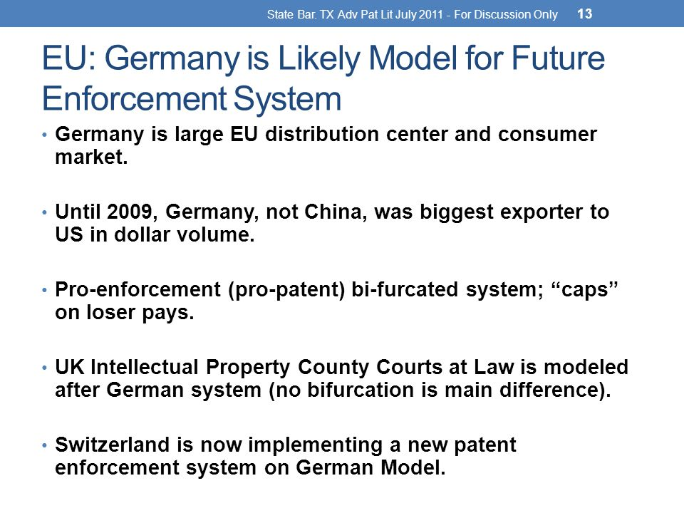 EU: Germany is Likely Model for Future Enforcement System Germany is large EU distribution center and consumer market.