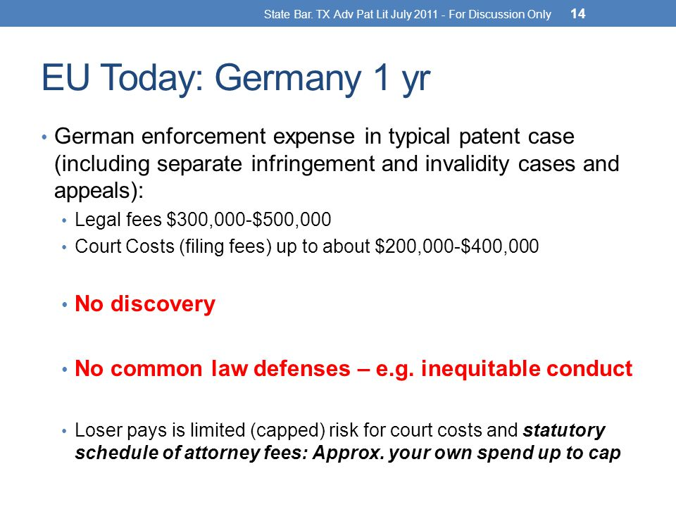 EU Today: Germany 1 yr German enforcement expense in typical patent case (including separate infringement and invalidity cases and appeals): Legal fees $300,000-$500,000 Court Costs (filing fees) up to about $200,000-$400,000 No discovery No common law defenses – e.g.