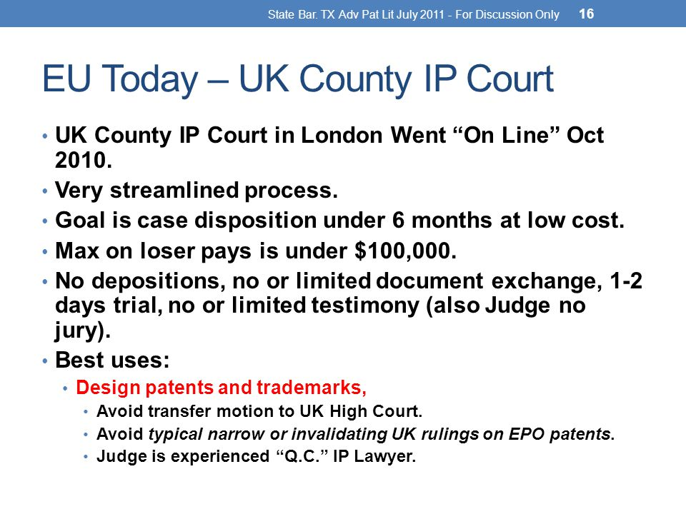EU Today – UK County IP Court UK County IP Court in London Went On Line Oct 2010.