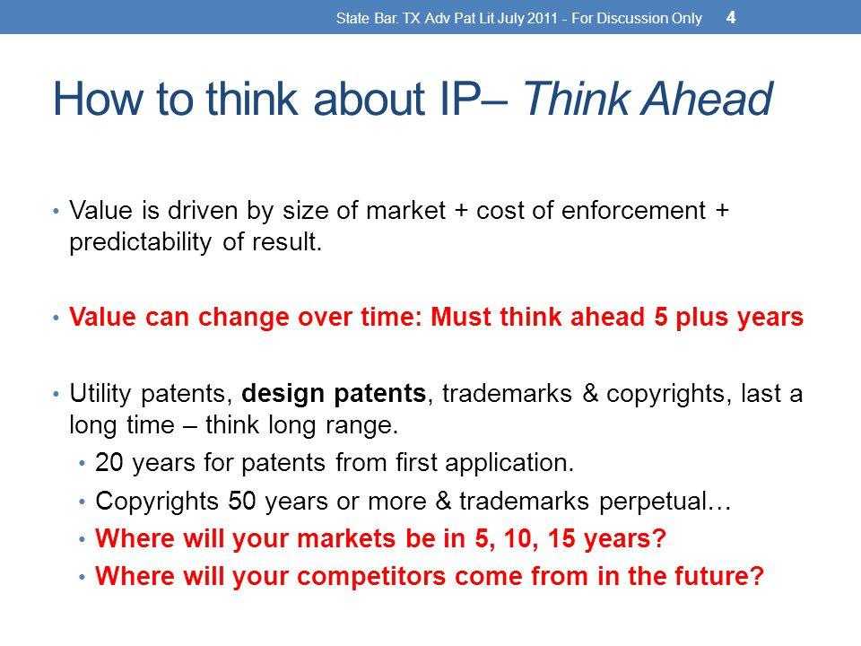 How to think about IP– Think Ahead Value is driven by size of market + cost of enforcement + predictability of result.