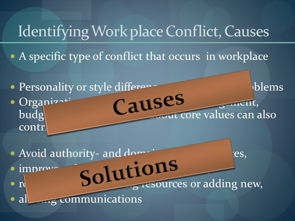 Identifying Work place Conflict, Causes A specific type of conflict that occurs in workplace Personality or style differences and personal problems Or