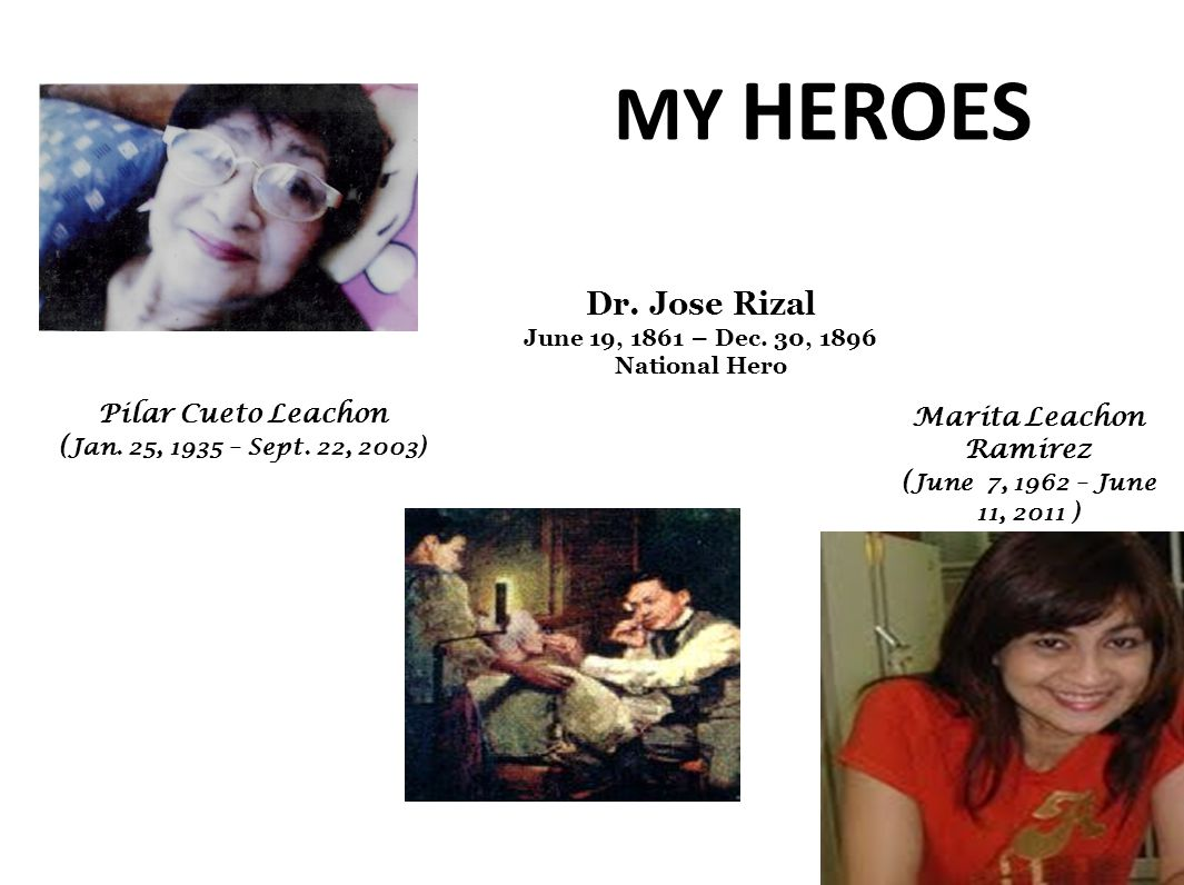 MY HEROES Dr. Jose Rizal June 19, 1861 – Dec. 30, 1896 National Hero Pilar Cueto Leachon ( Jan.