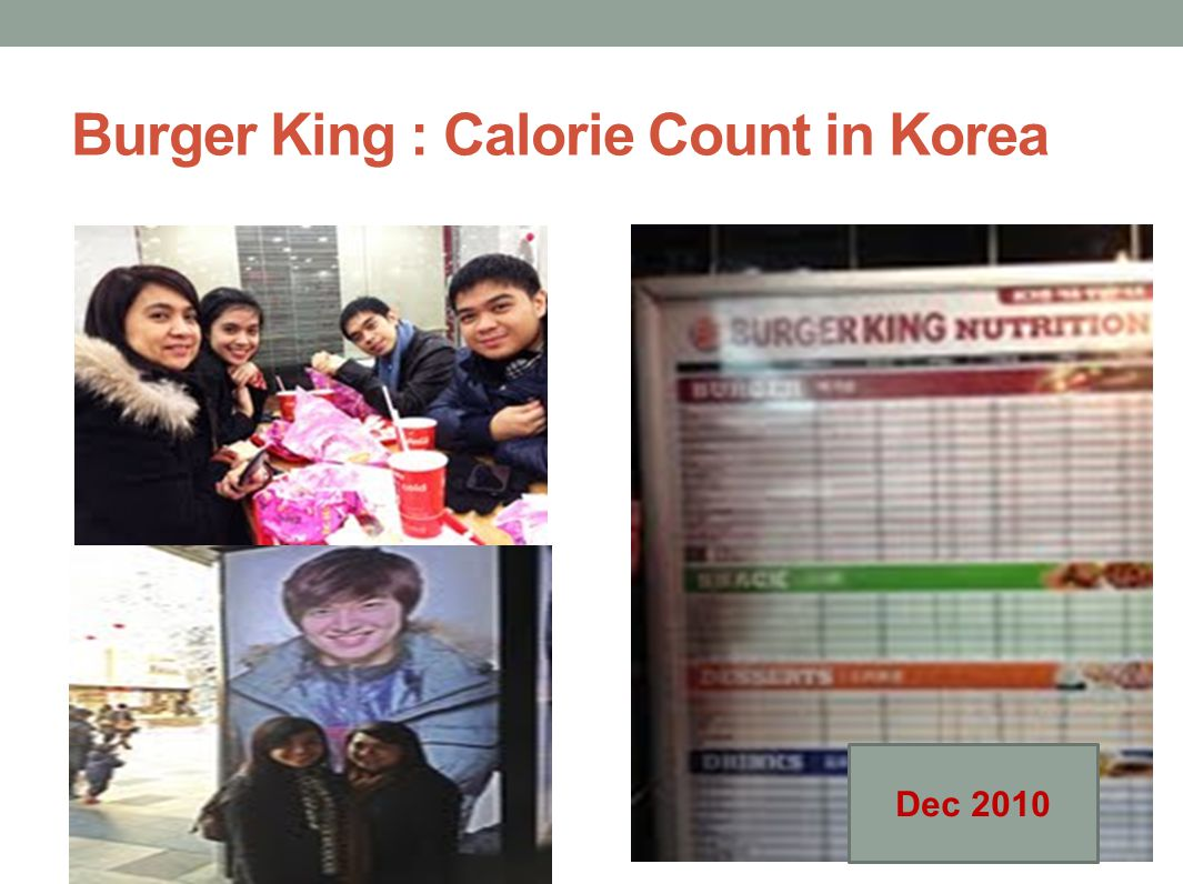 Burger King : Calorie Count in Korea Dec 2010
