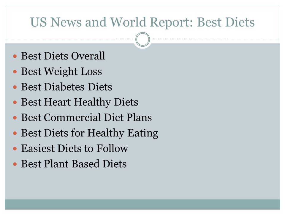 US News and World Report: Best Diets Best Diets Overall Best Weight Loss Best Diabetes Diets Best Heart Healthy Diets Best Commercial Diet Plans Best Diets for Healthy Eating Easiest Diets to Follow Best Plant Based Diets