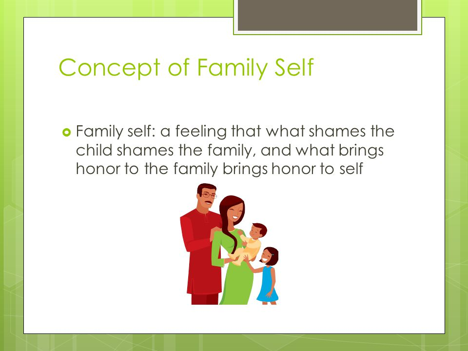 Concept of Family Self  Family self: a feeling that what shames the child shames the family, and what brings honor to the family brings honor to self