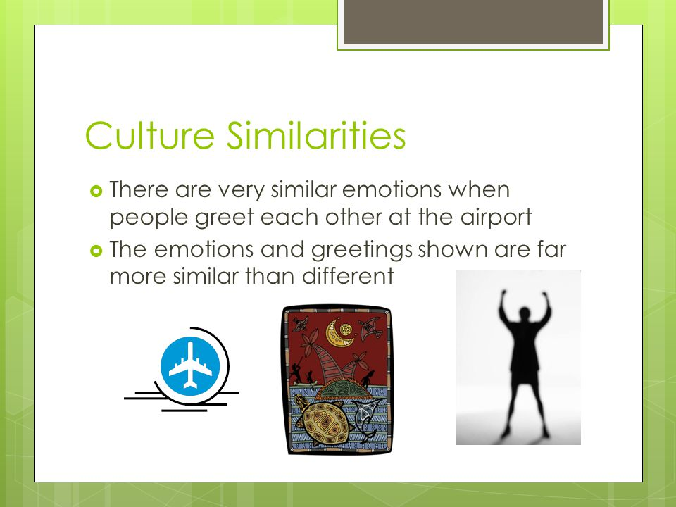 Culture Similarities  There are very similar emotions when people greet each other at the airport  The emotions and greetings shown are far more sim