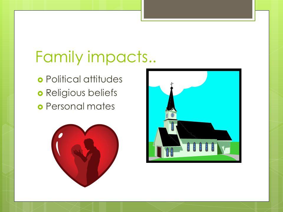 Family impacts..  Political attitudes  Religious beliefs  Personal mates