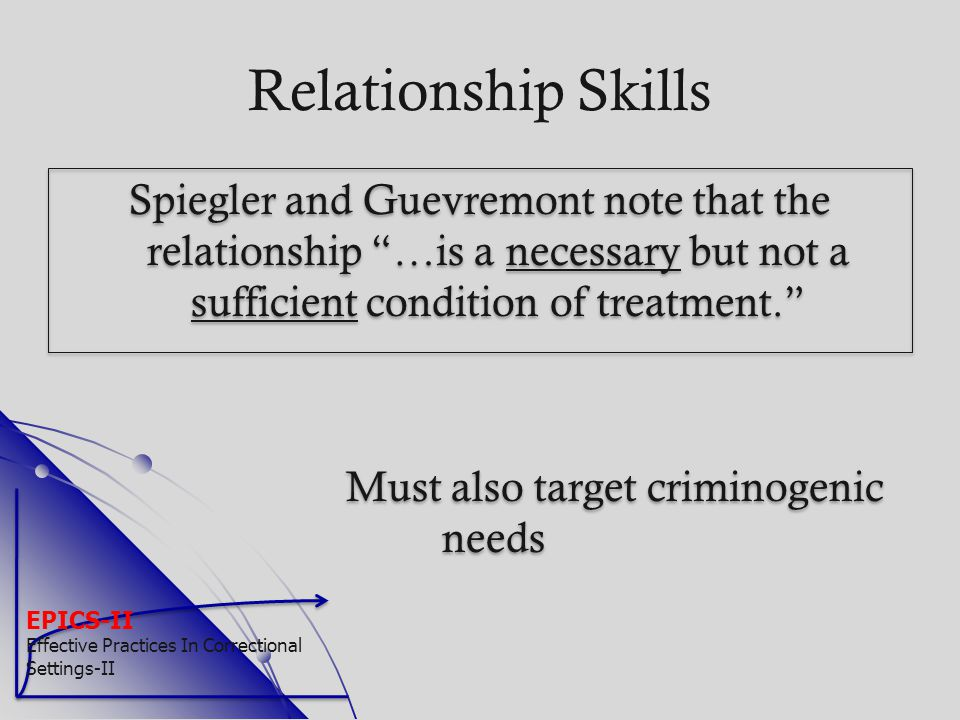 """EPICS-II Effective Practices In Correctional Settings-II Relationship Skills Spiegler and Guevremont note that the relationship """"…is a necessary but n"""