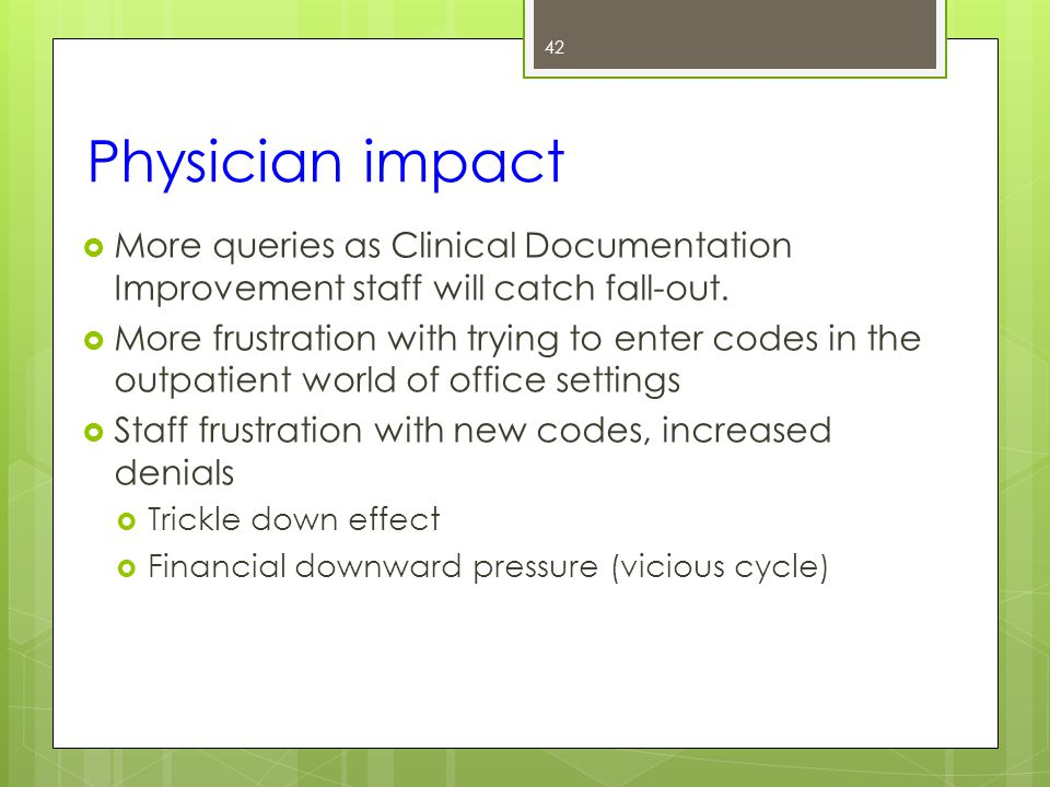 Physician impact  More queries as Clinical Documentation Improvement staff will catch fall-out.