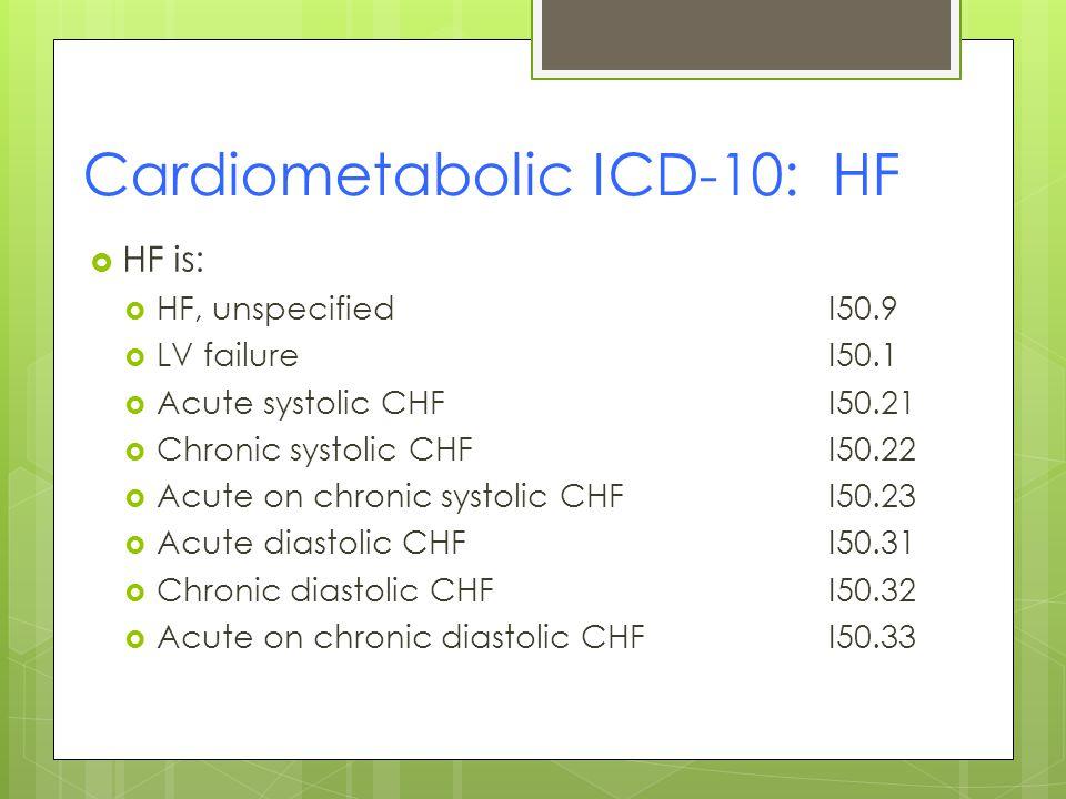 Cardiometabolic ICD-10: HF  HF is:  HF, unspecifiedI50.9  LV failureI50.1  Acute systolic CHFI50.21  Chronic systolic CHFI50.22  Acute on chronic systolic CHFI50.23  Acute diastolic CHFI50.31  Chronic diastolic CHFI50.32  Acute on chronic diastolic CHFI50.33