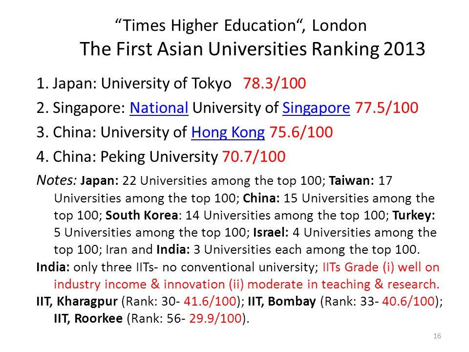 """Times Higher Education"", London The First Asian Universities Ranking 2013 1. Japan: University of Tokyo 78.3/100 2. Singapore: National University of"