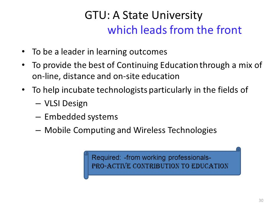 GTU: A State University which leads from the front To be a leader in learning outcomes To provide the best of Continuing Education through a mix of on