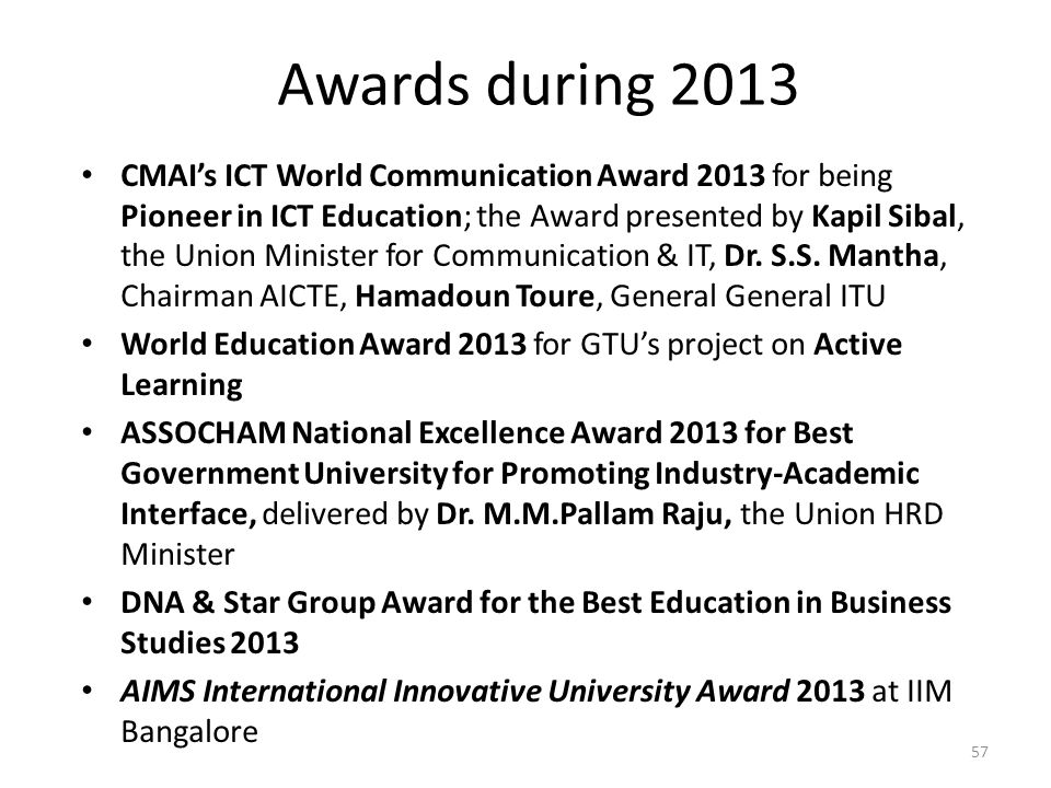 Awards during 2013 CMAI's ICT World Communication Award 2013 for being Pioneer in ICT Education; the Award presented by Kapil Sibal, the Union Ministe