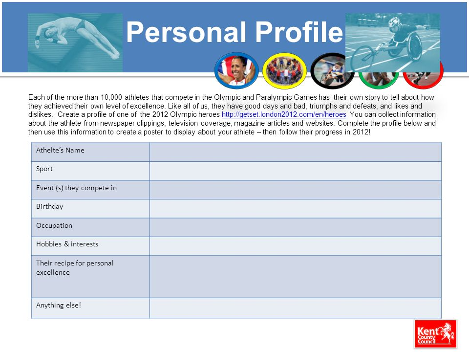 Personal Profile Each of the more than 10,000 athletes that compete in the Olympic and Paralympic Games has their own story to tell about how they ach