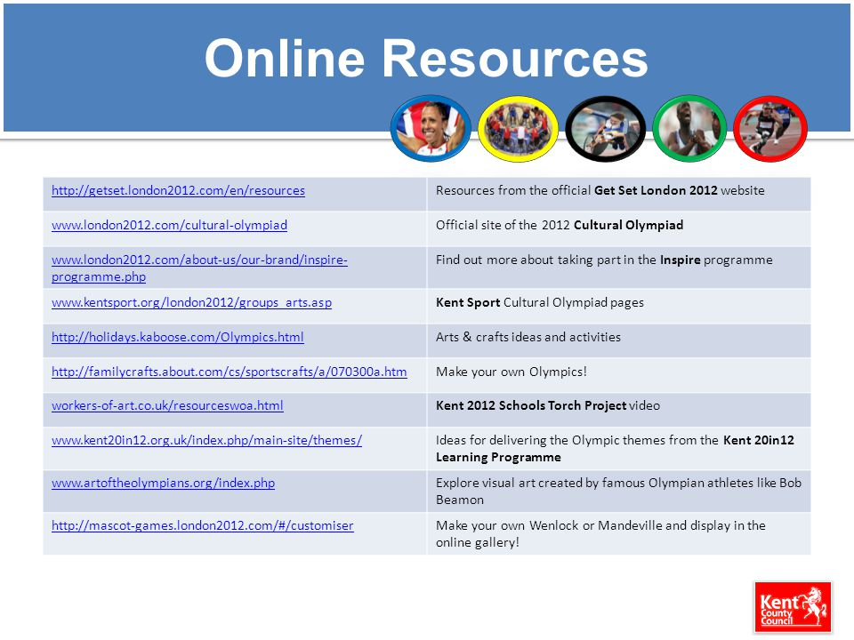 Online Resources http://getset.london2012.com/en/resourcesResources from the official Get Set London 2012 website www.london2012.com/cultural-olympiadOfficial site of the 2012 Cultural Olympiad www.london2012.com/about-us/our-brand/inspire- programme.php Find out more about taking part in the Inspire programme www.kentsport.org/london2012/groups_arts.aspKent Sport Cultural Olympiad pages http://holidays.kaboose.com/Olympics.htmlArts & crafts ideas and activities http://familycrafts.about.com/cs/sportscrafts/a/070300a.htmMake your own Olympics.