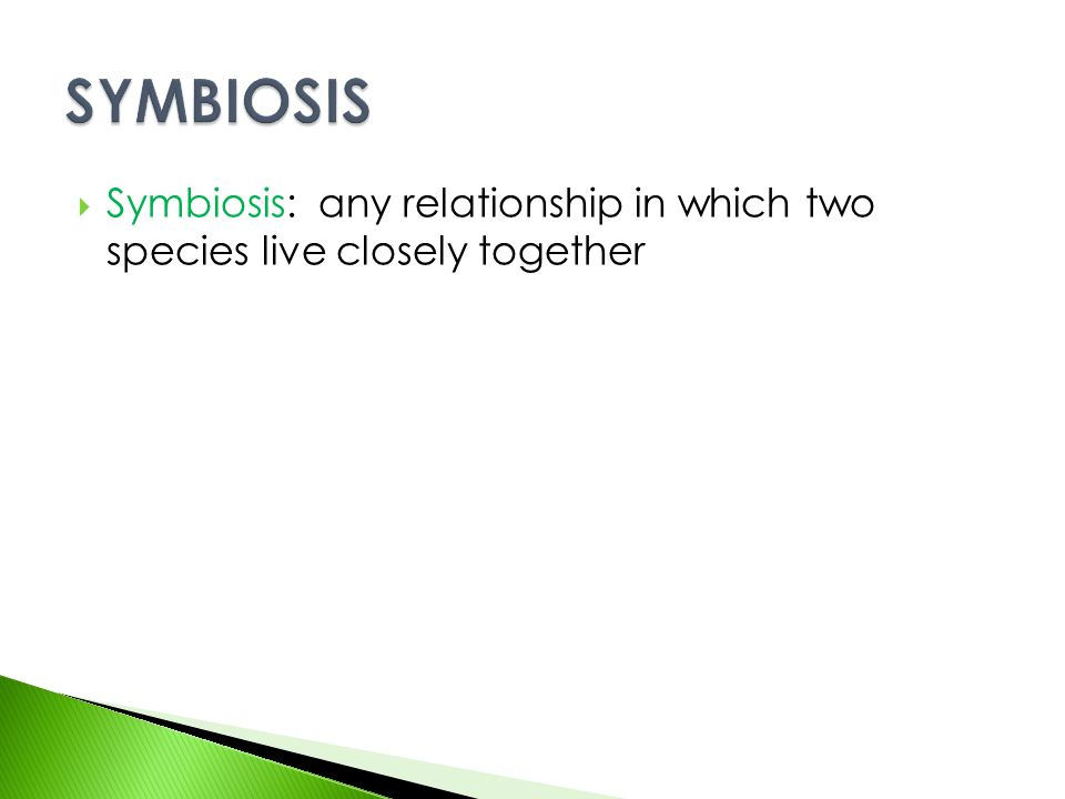  Symbiosis: any relationship in which two species live closely together