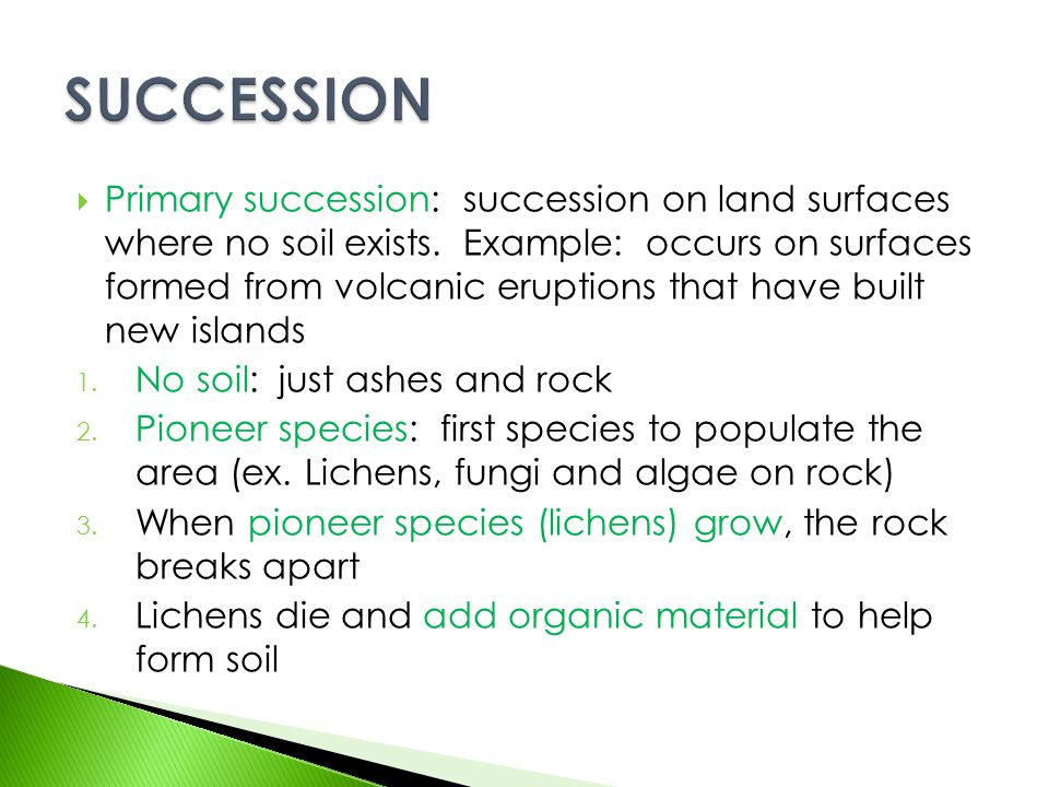  Primary succession: succession on land surfaces where no soil exists. Example: occurs on surfaces formed from volcanic eruptions that have built new