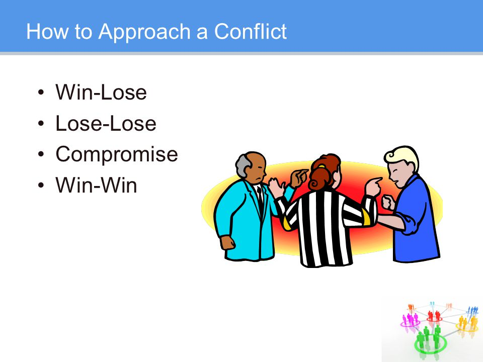 How to Approach a Conflict Win-Lose Lose-Lose Compromise Win-Win
