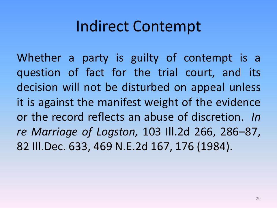 Indirect Contempt Whether a party is guilty of contempt is a question of fact for the trial court, and its decision will not be disturbed on appeal unless it is against the manifest weight of the evidence or the record reflects an abuse of discretion.