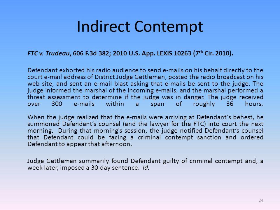 Indirect Contempt FTC v. Trudeau, 606 F.3d 382; 2010 U.S.