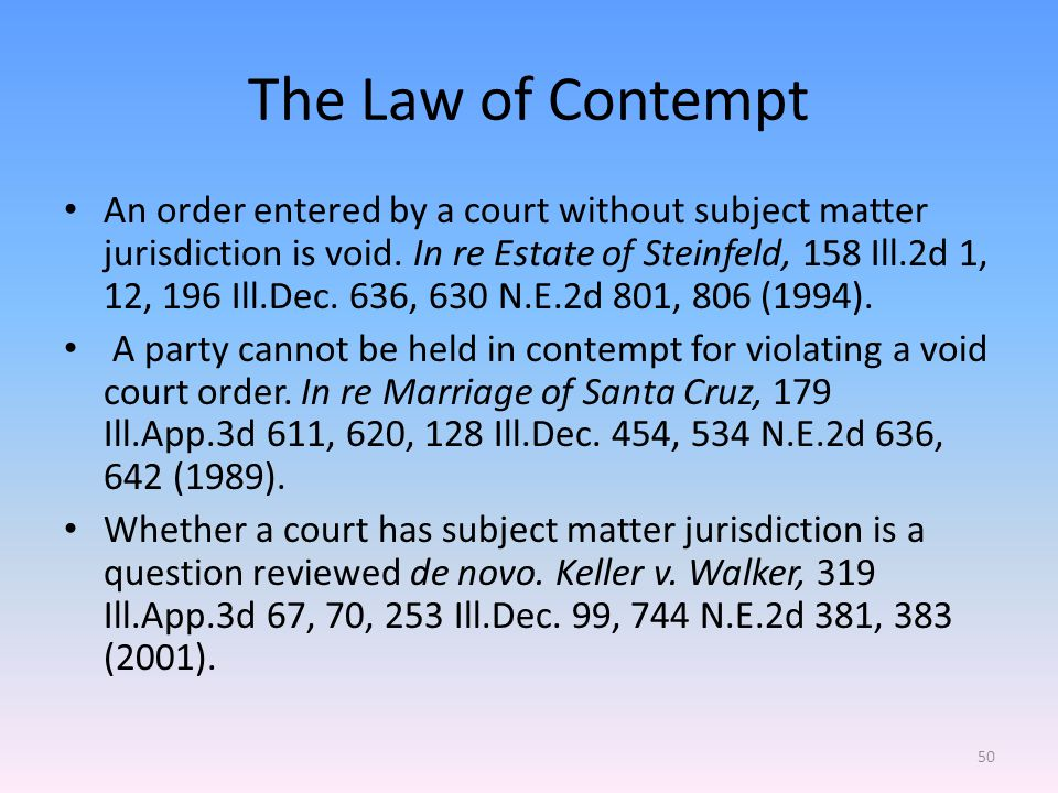 The Law of Contempt An order entered by a court without subject matter jurisdiction is void.