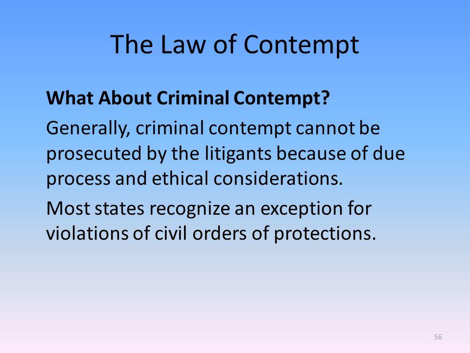 The Law of Contempt What About Criminal Contempt.