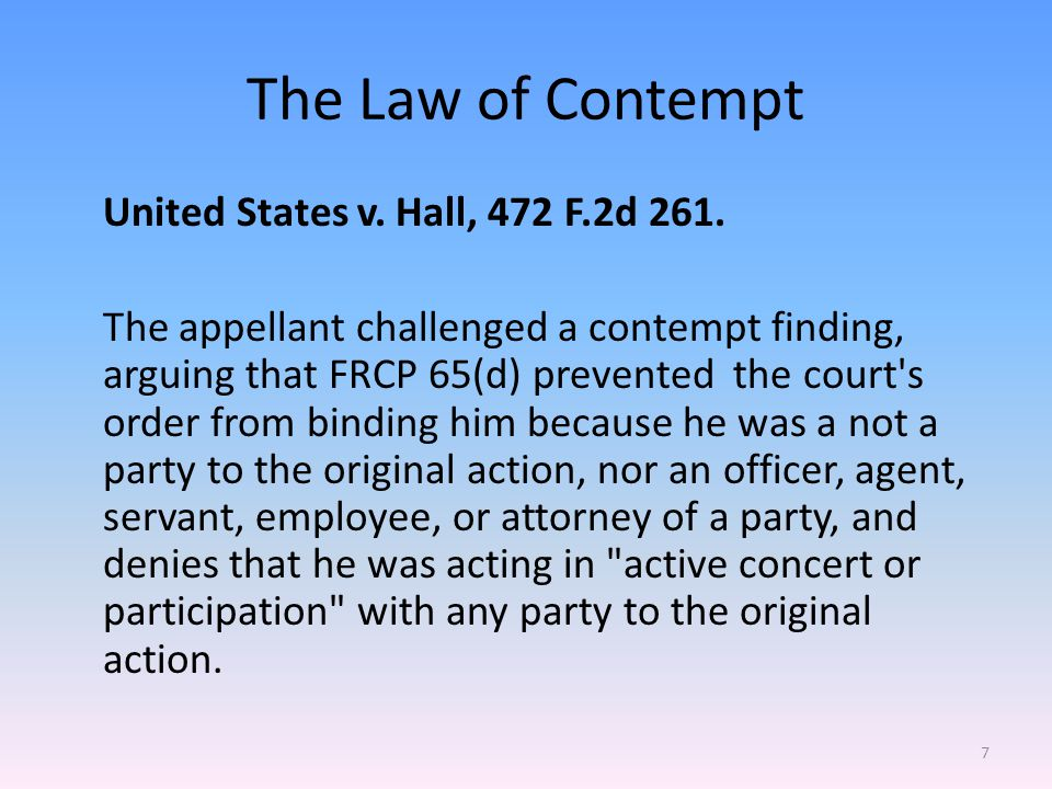 Indirect Contempt A party may be found in direct criminal contempt when, in the judge s presence, that party s action is disrespectful, disruptive, deceitful, or disobedient to a degree that disrupts the court s proceedings.