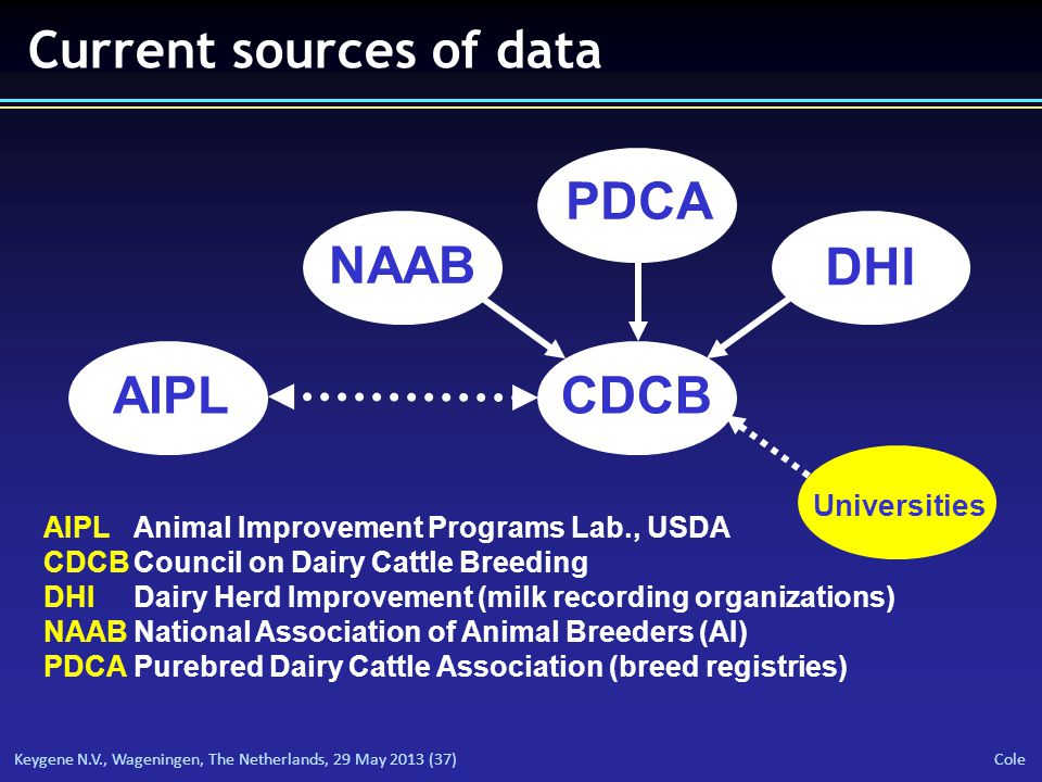 Keygene N.V., Wageningen, The Netherlands, 29 May 2013 (37) Cole Current sources of data AIPLCDCB NAAB PDCA DHI Universities AIPL Animal Improvement Programs Lab., USDA CDCBCouncil on Dairy Cattle Breeding DHIDairy Herd Improvement (milk recording organizations) NAABNational Association of Animal Breeders (AI) PDCAPurebred Dairy Cattle Association (breed registries)