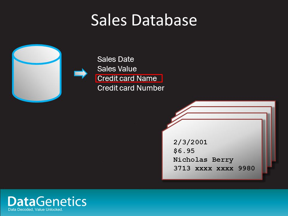 Sales Database Sales Date Sales Value Credit card Name Credit card Number 2/3/2001 $6.95 Nicholas Berry 3713 xxxx xxxx 9980