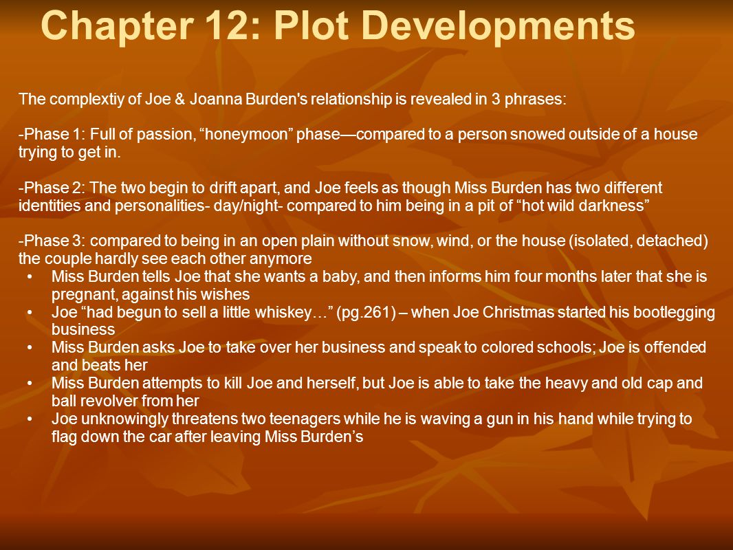 "Chapter 12: Plot Developments The complextiy of Joe & Joanna Burden's relationship is revealed in 3 phrases: -Phase 1: Full of passion, ""honeymoon"" ph"
