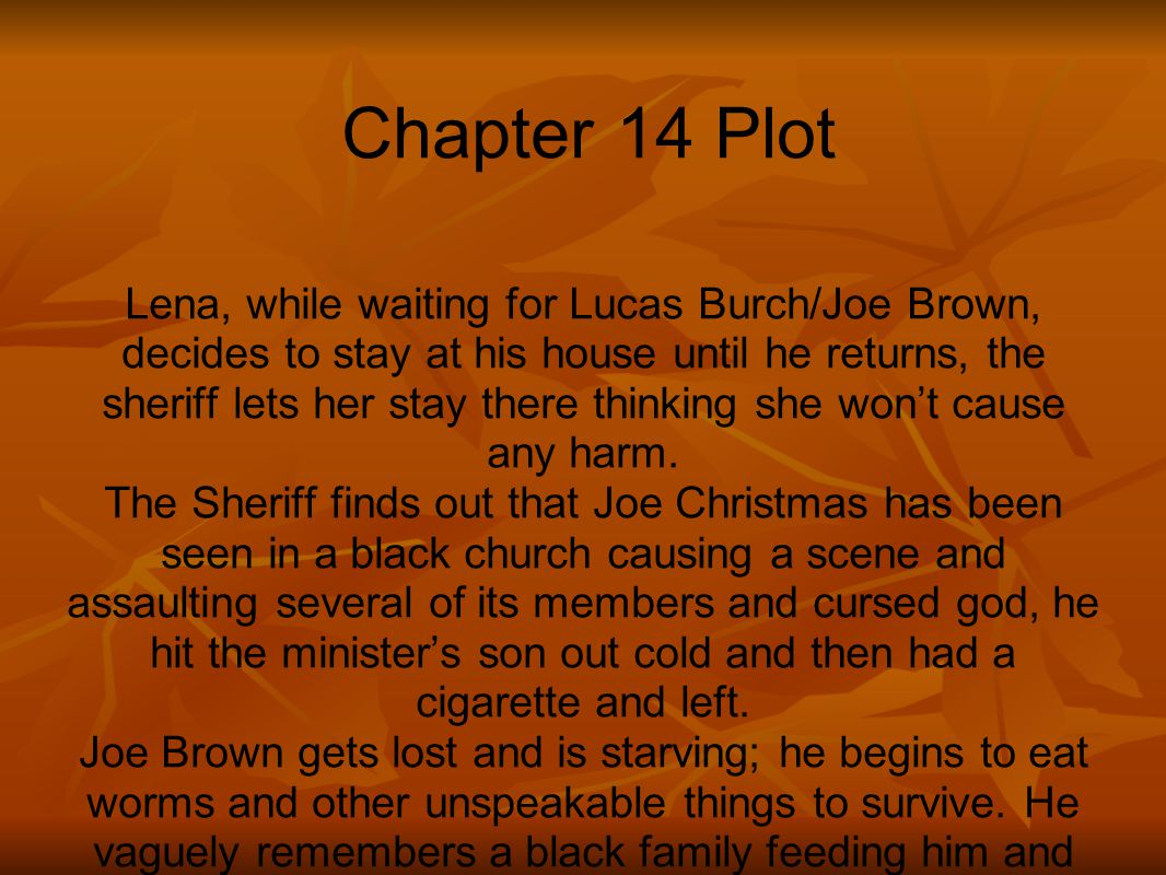Chapter 14 Plot Lena, while waiting for Lucas Burch/Joe Brown, decides to stay at his house until he returns, the sheriff lets her stay there thinking