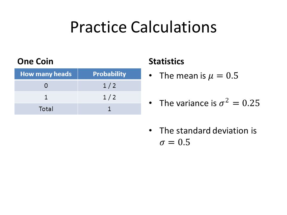 Practice Calculations One Coin How many headsProbability 01 / 2 1 Total1 Statistics