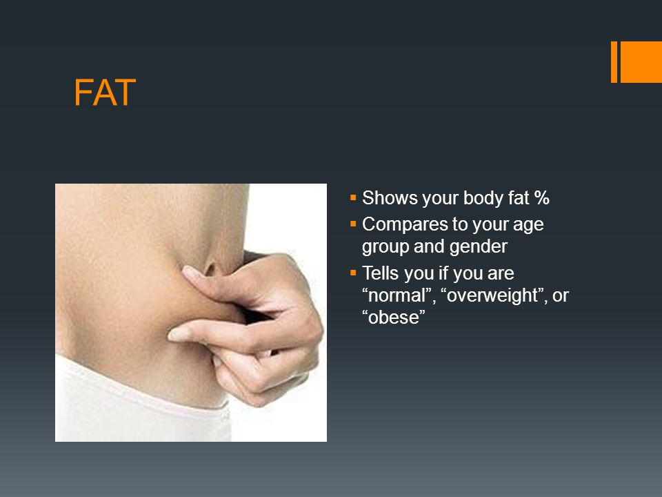 Example of body fat % chart comparing the result to other people of the same gender and age See next slide on how to interpret result