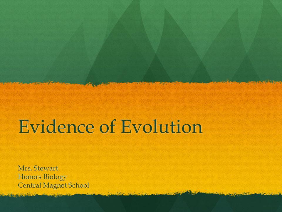 Evidence of Evolution Mrs. Stewart Honors Biology Central Magnet School