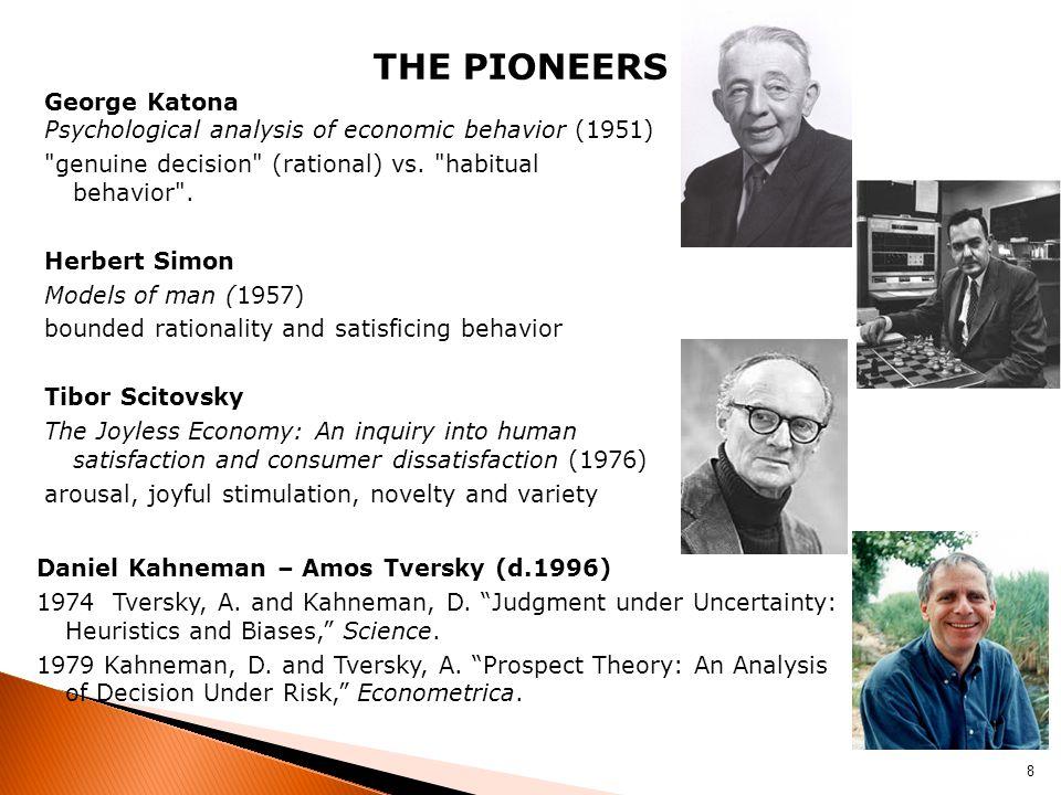 THE PIONEERS George Katona Psychological analysis of economic behavior (1951)
