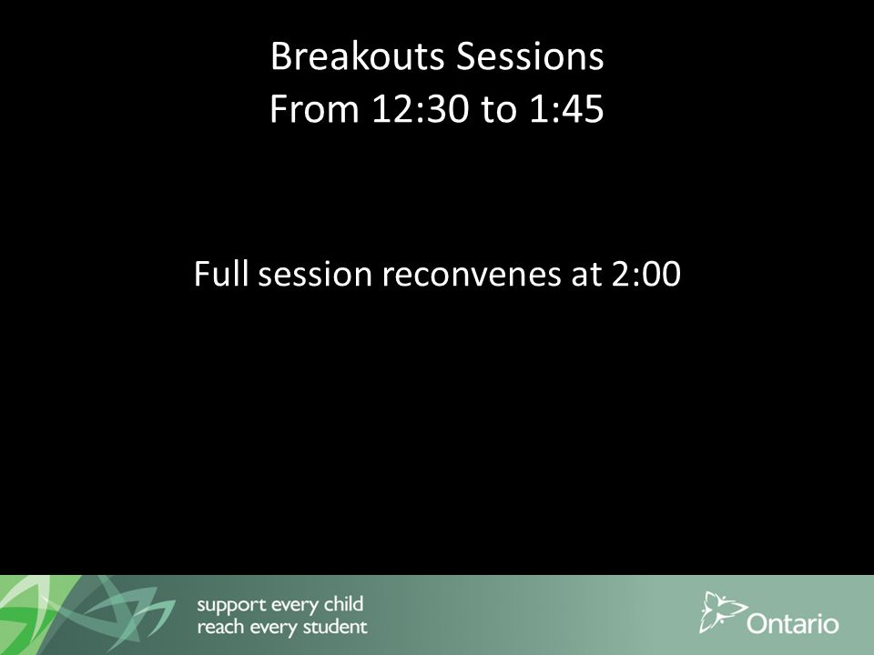 Breakouts Sessions From 12:30 to 1:45 Full session reconvenes at 2:00