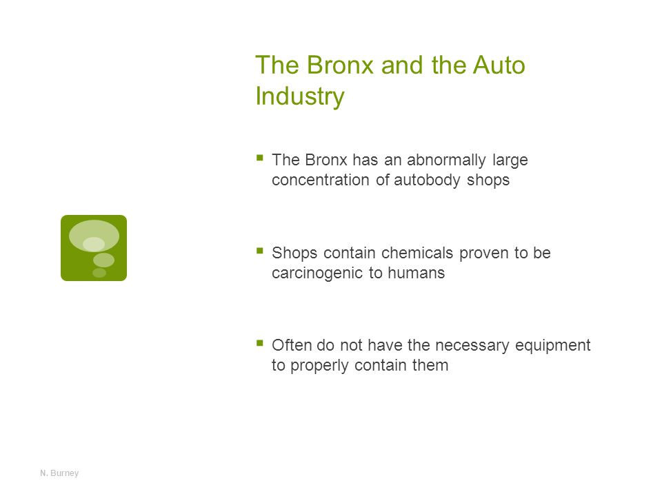 The Bronx and the Auto Industry  The Bronx has an abnormally large concentration of autobody shops  Shops contain chemicals proven to be carcinogenic to humans  Often do not have the necessary equipment to properly contain them N.
