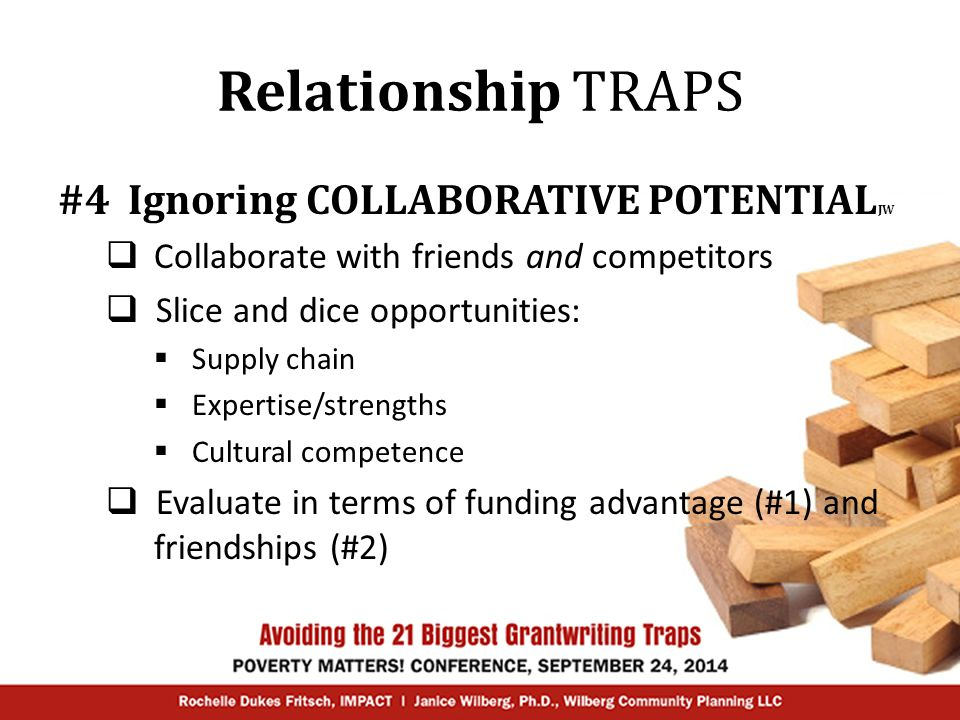 Relationship TRAPS #5 Under/over-estimating the COMPETITION RF  Honestly assess your strengths and weaknesses  Do the same for your competitors  Ask yourself:  Duplicating services.