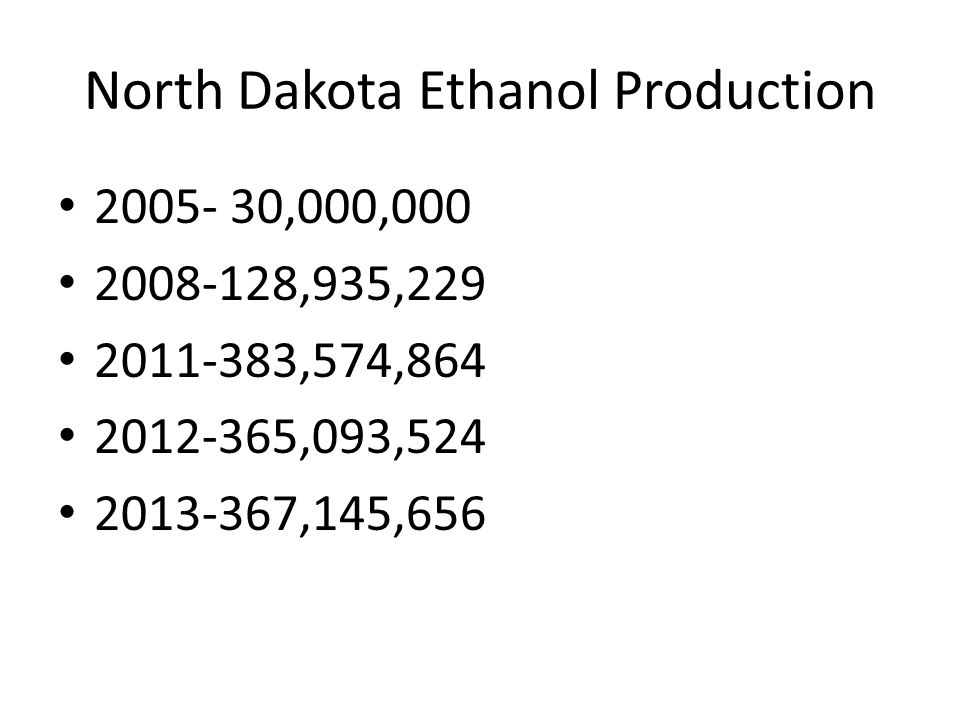 North Dakota Ethanol Production 2005- 30,000,000 2008-128,935,229 2011-383,574,864 2012-365,093,524 2013-367,145,656