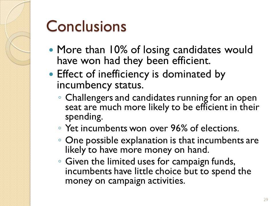 Conclusions More than 10% of losing candidates would have won had they been efficient.