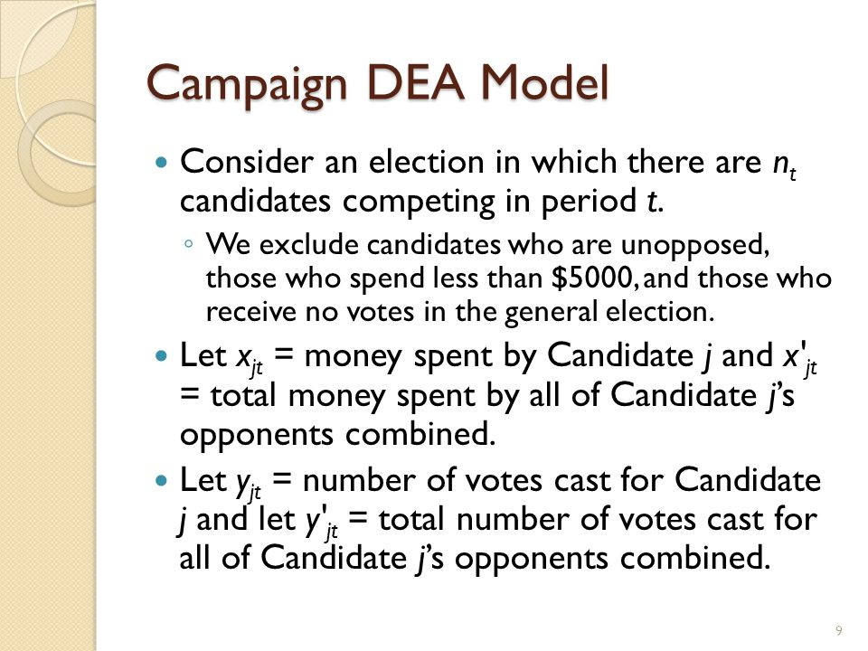 Campaign DEA Model Consider an election in which there are n t candidates competing in period t.